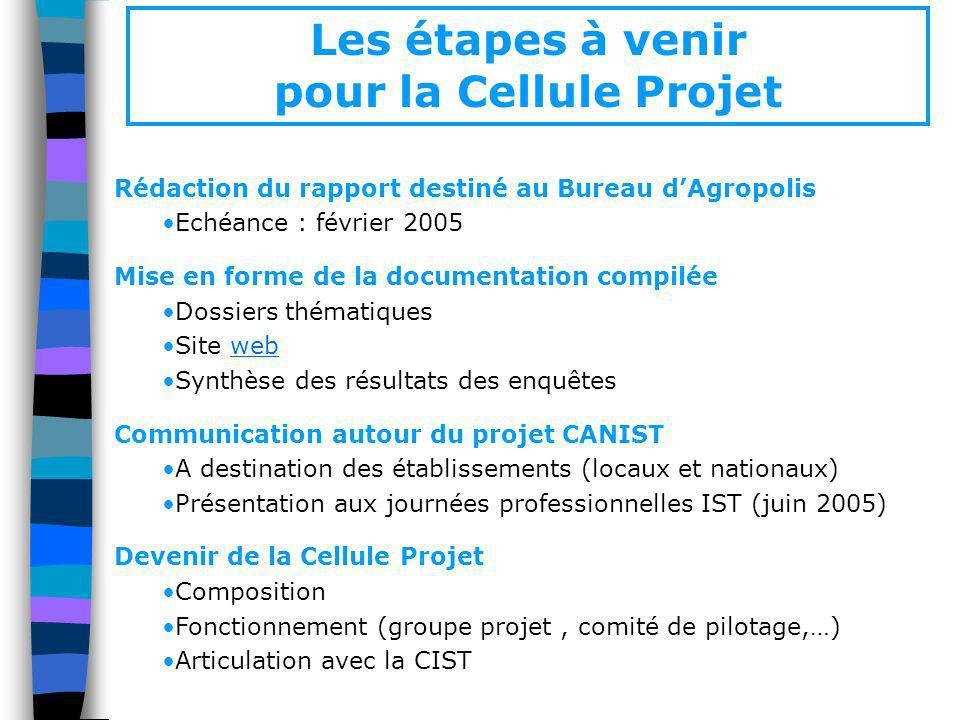 Les étapes à venir pour la Cellule Projet