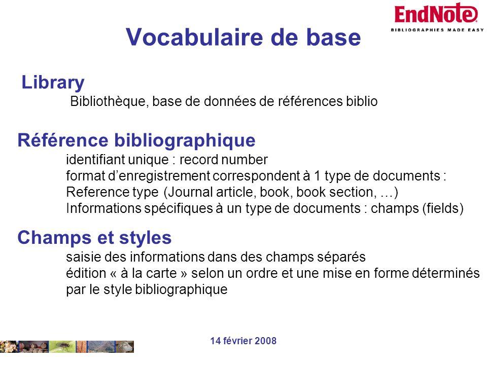 Vocabulaire de base Library Référence bibliographique Champs et styles