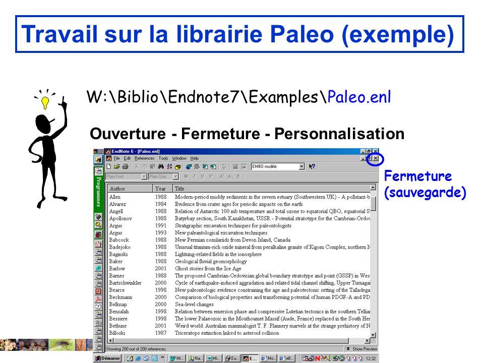 Travail sur la librairie Paleo (exemple)
