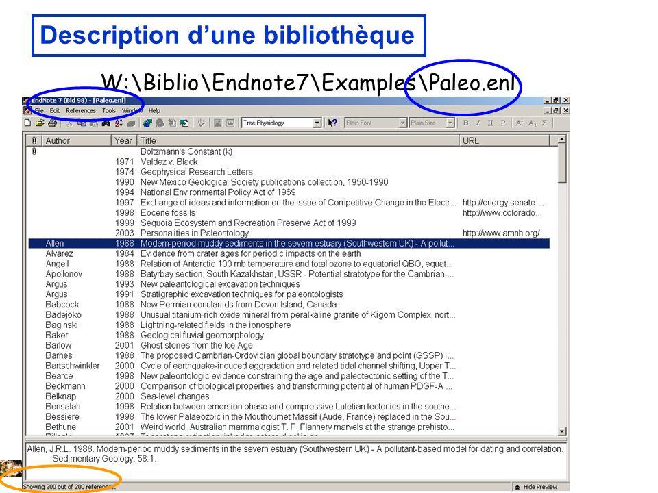 Description d'une bibliothèque
