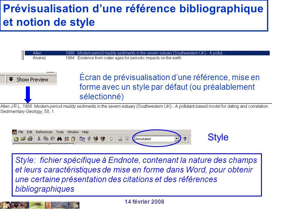Prévisualisation d'une référence bibliographique et notion de style
