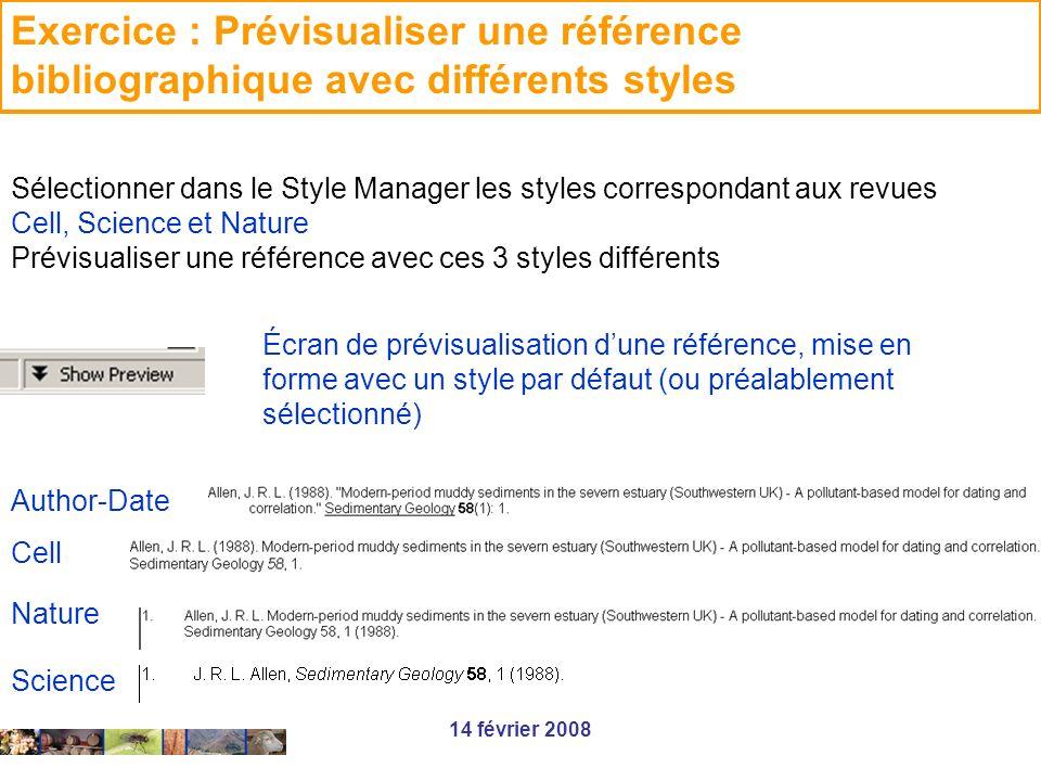 Exercice : Prévisualiser une référence bibliographique avec différents styles