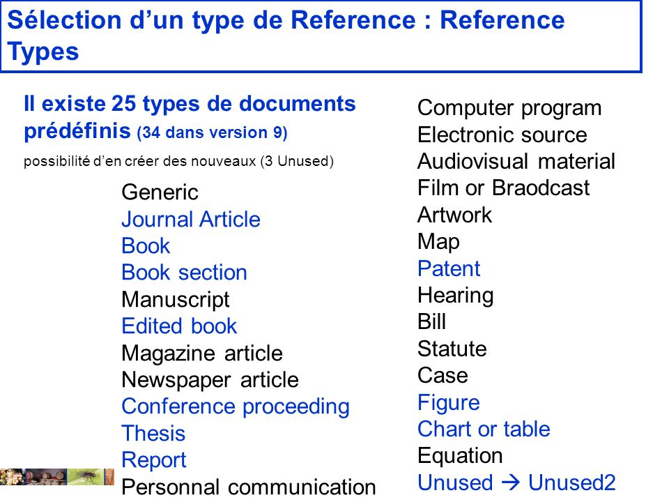 Sélection d'un type de Reference : Reference Types