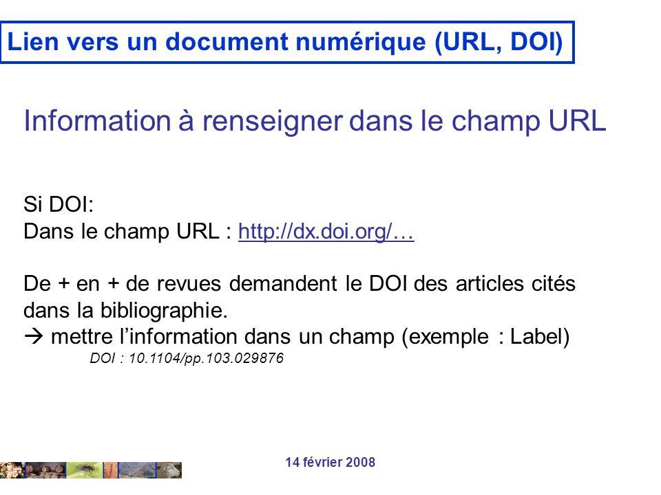 Information à renseigner dans le champ URL