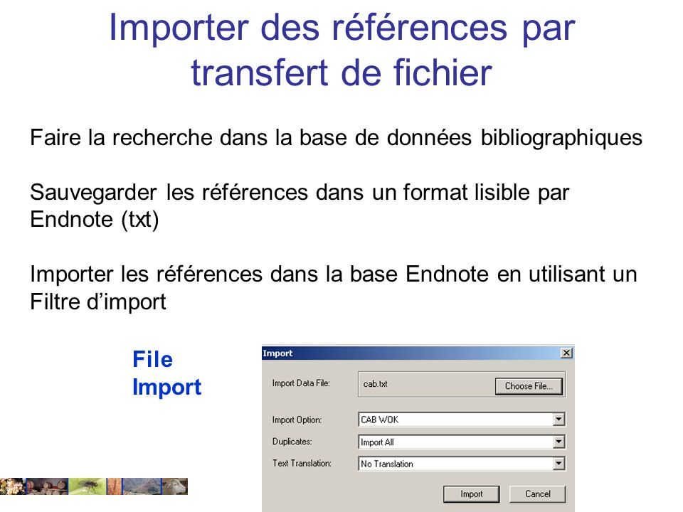 Importer des références par transfert de fichier