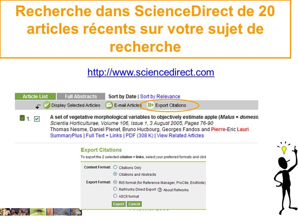 Recherche dans ScienceDirect de 20 articles récents sur votre sujet de recherche