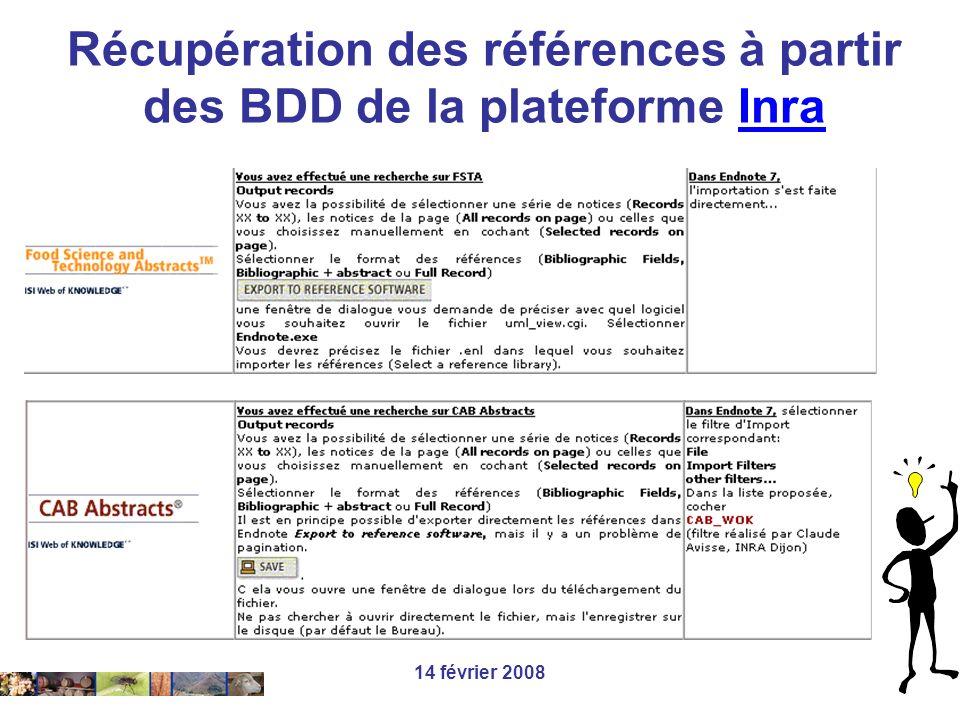 Récupération des références à partir des BDD de la plateforme Inra