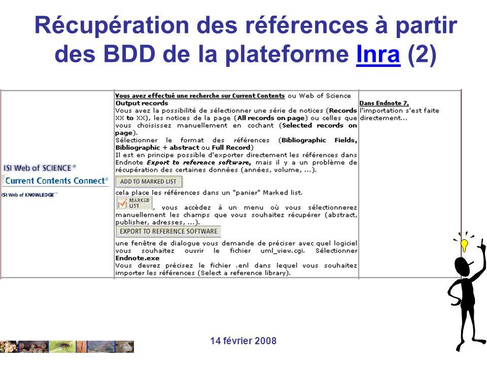 Récupération des références à partir des BDD de la plateforme Inra (2)