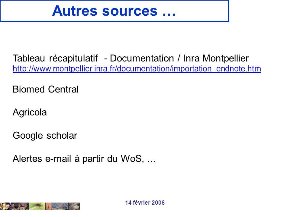 Autres sources … Tableau récapitulatif - Documentation / Inra Montpellier. http://www.montpellier.inra.fr/documentation/importation_endnote.htm.