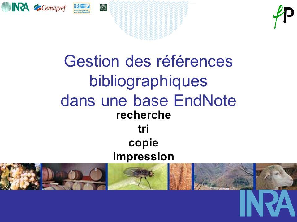 Gestion des références bibliographiques dans une base EndNote