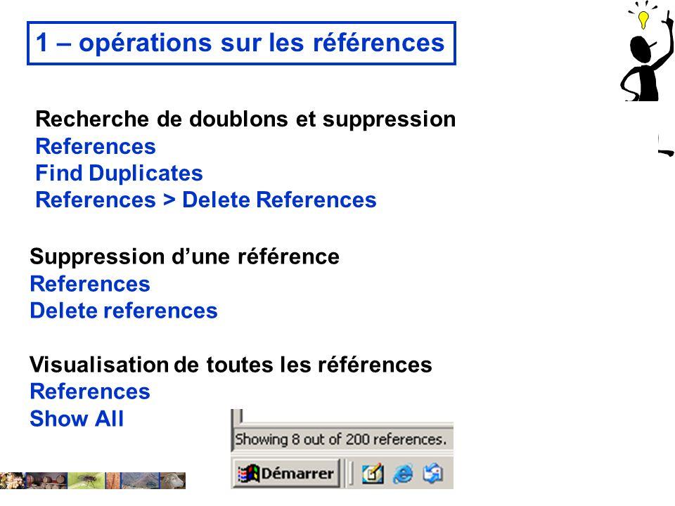 1 – opérations sur les références