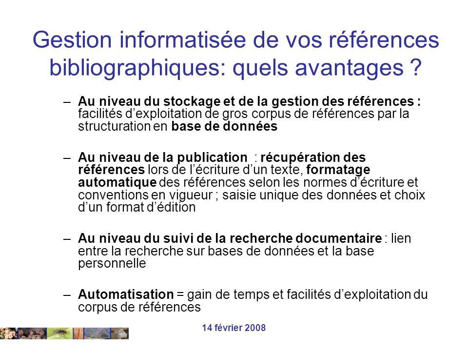 Gestion informatisée de vos références bibliographiques: quels avantages