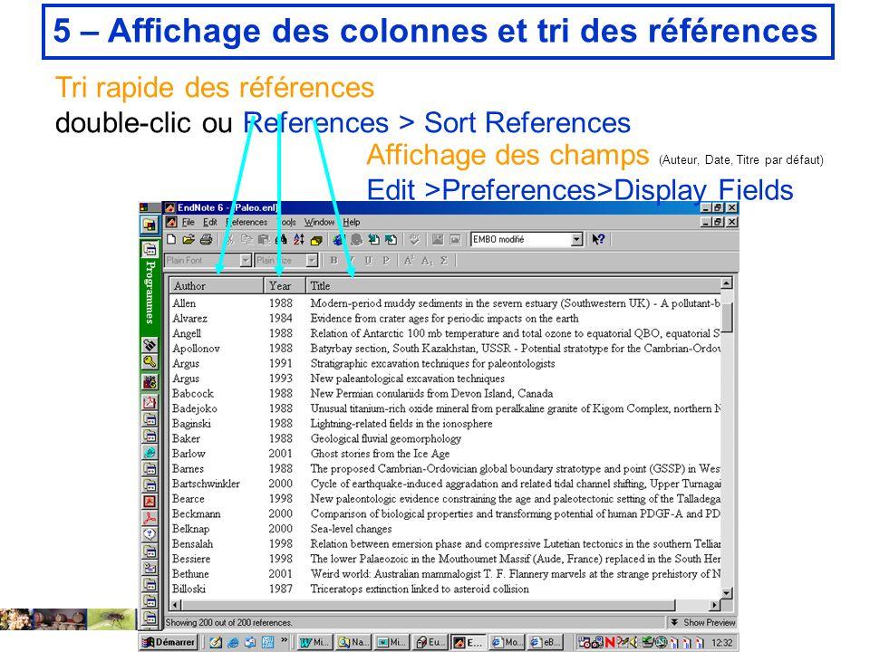5 – Affichage des colonnes et tri des références