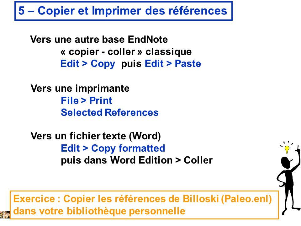5 – Copier et Imprimer des références