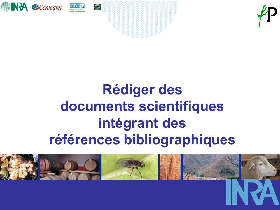 Rédiger des documents scientifiques intégrant des références bibliographiques