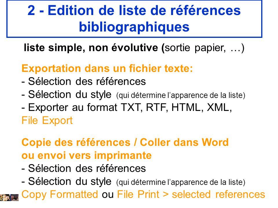 2 - Edition de liste de références bibliographiques