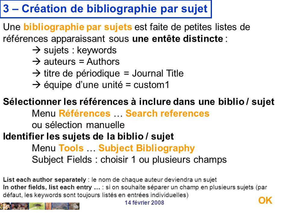 3 – Création de bibliographie par sujet