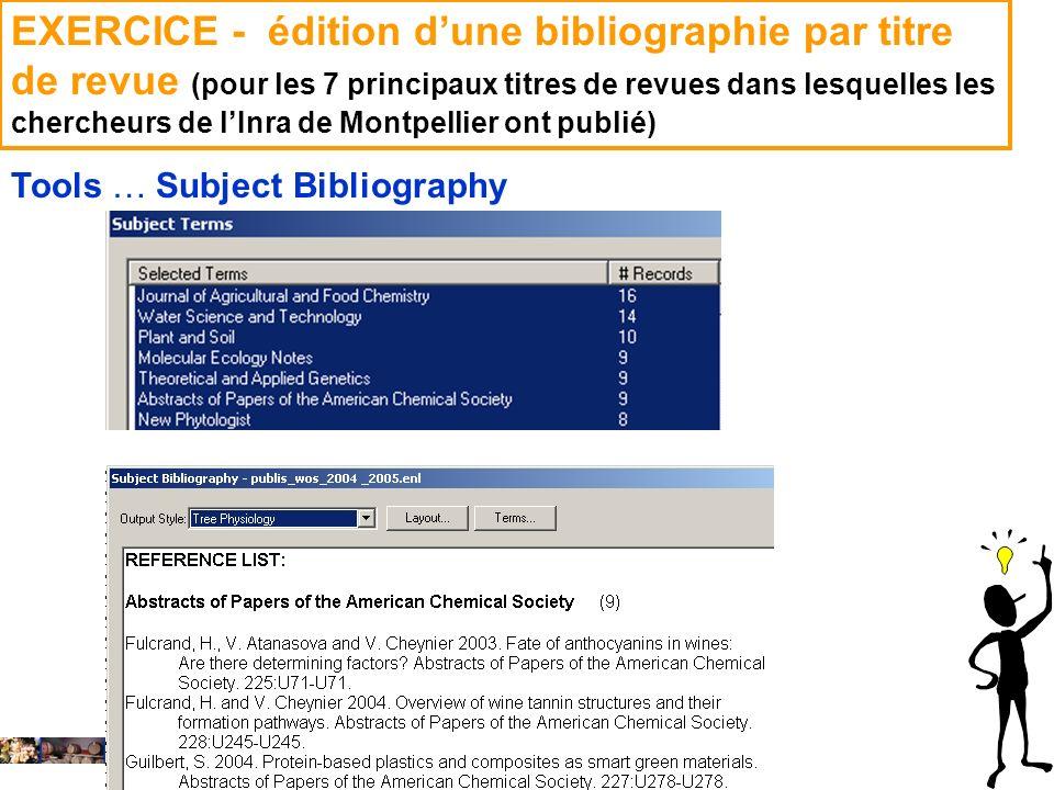EXERCICE - édition d'une bibliographie par titre de revue (pour les 7 principaux titres de revues dans lesquelles les chercheurs de l'Inra de Montpellier ont publié)