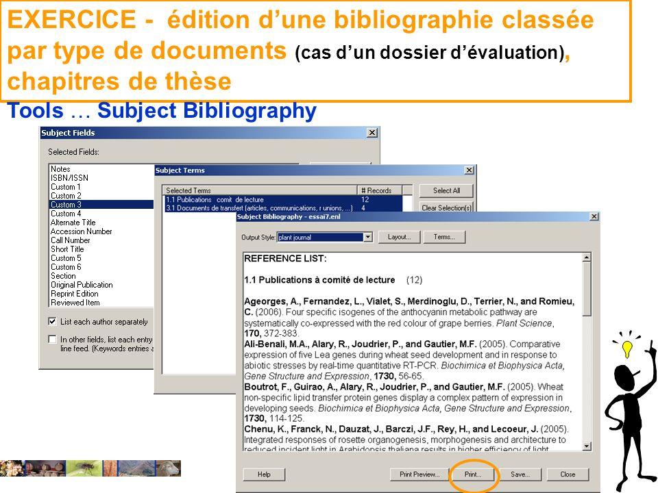 EXERCICE - édition d'une bibliographie classée par type de documents (cas d'un dossier d'évaluation), chapitres de thèse