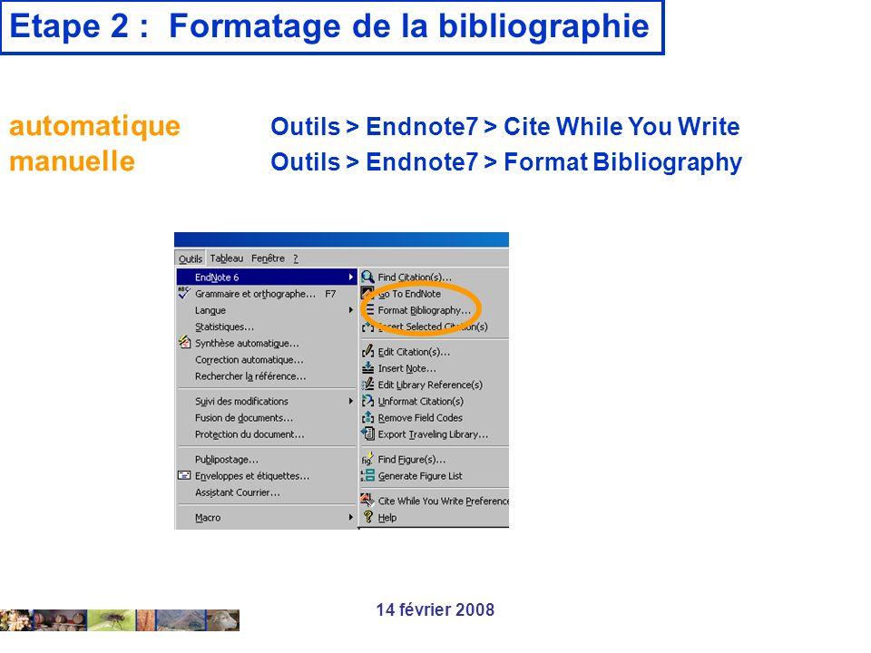 Etape 2 : Formatage de la bibliographie