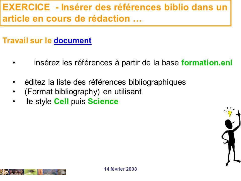 EXERCICE - Insérer des références biblio dans un article en cours de rédaction …
