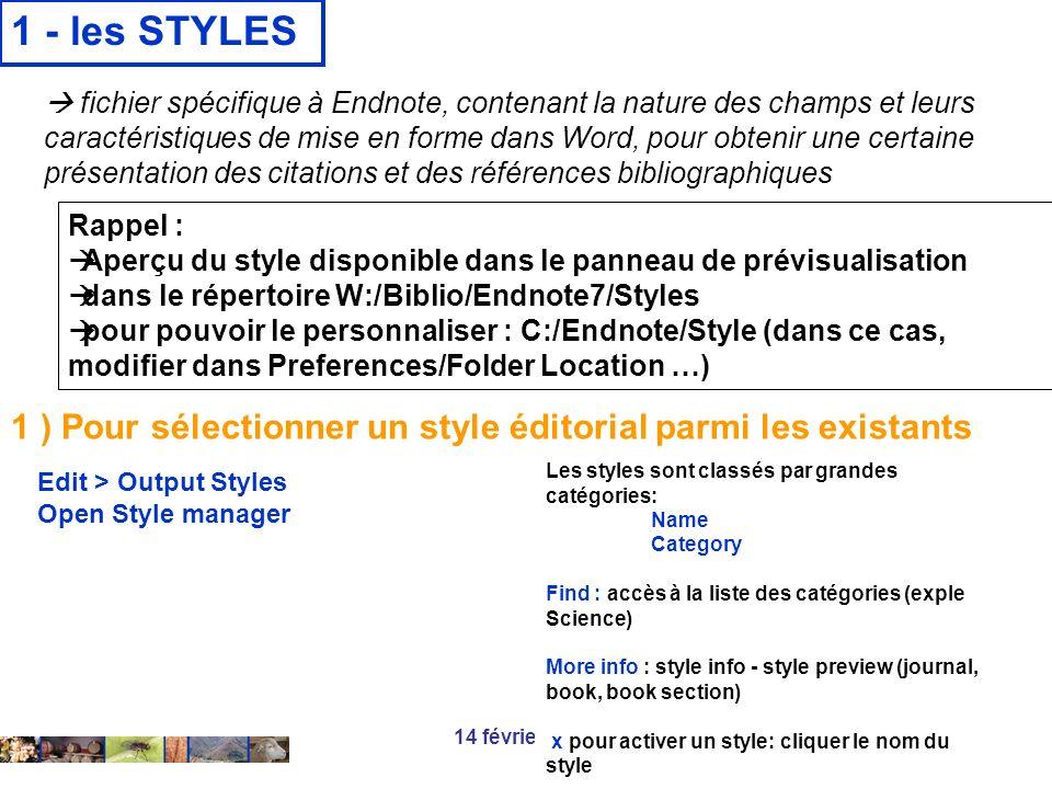 1 - les STYLES