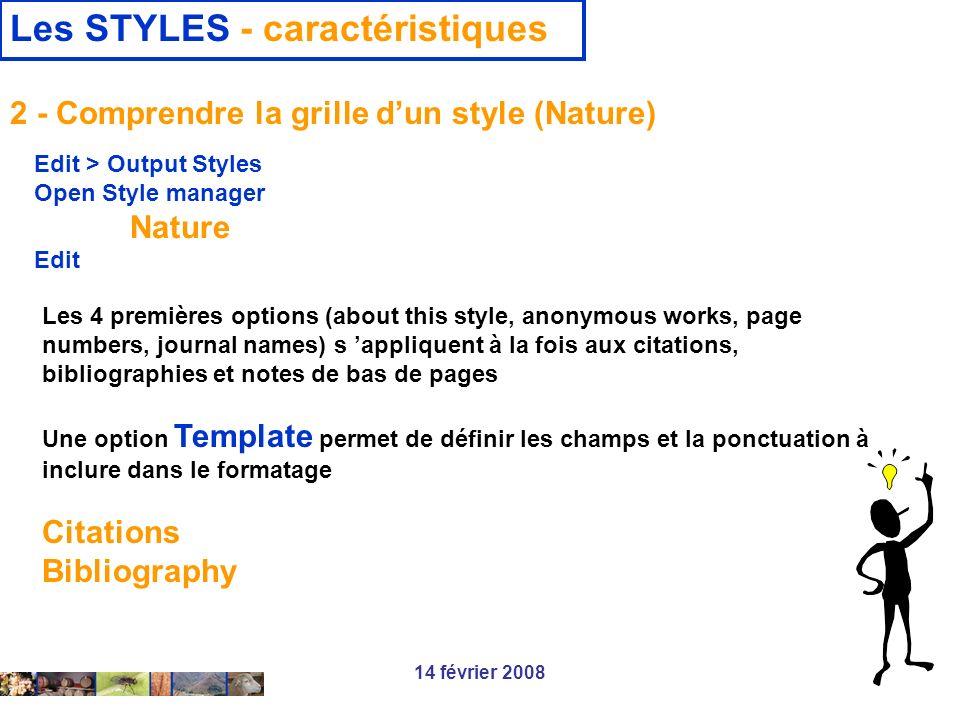 Les STYLES - caractéristiques