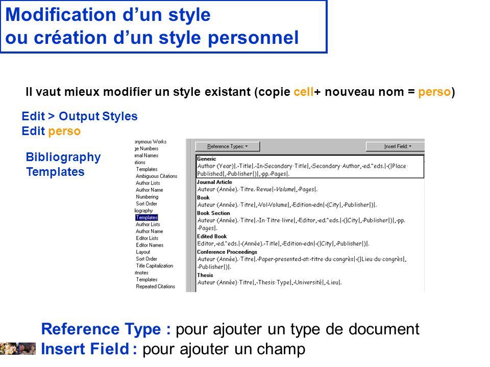 Modification d'un style ou création d'un style personnel