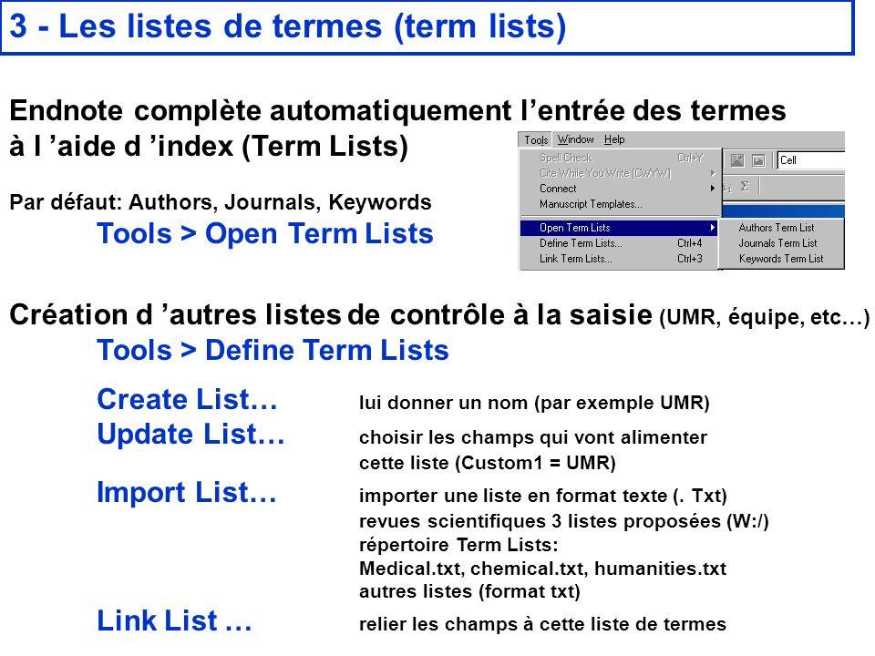 3 - Les listes de termes (term lists)
