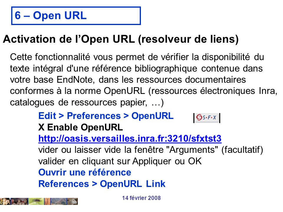 Activation de l'Open URL (resolveur de liens)
