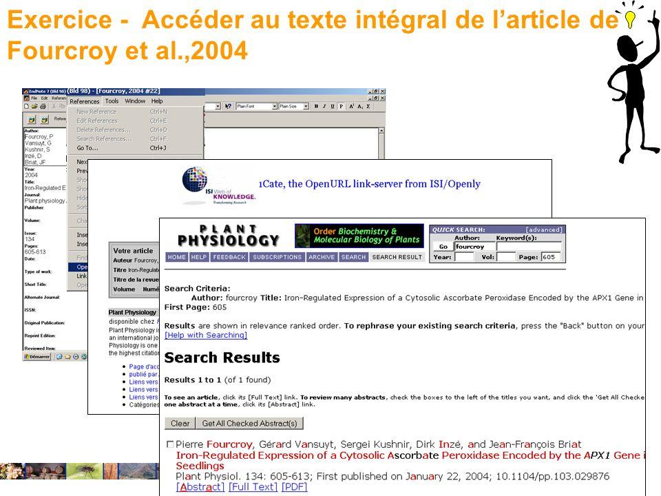Exercice - Accéder au texte intégral de l'article de Fourcroy et al