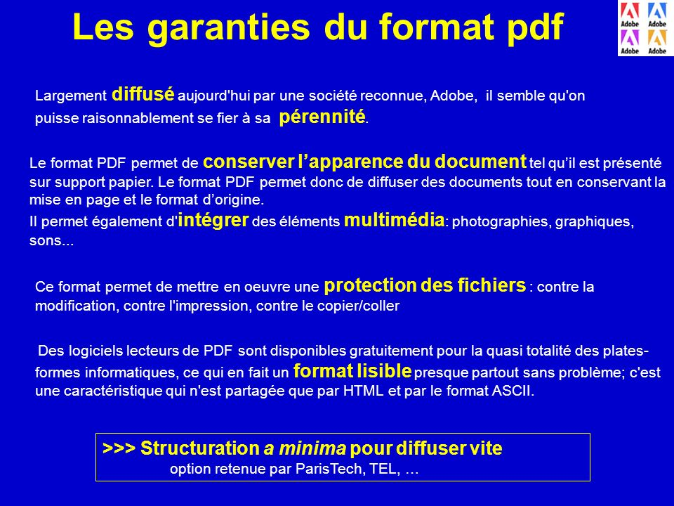 Les garanties du format pdf