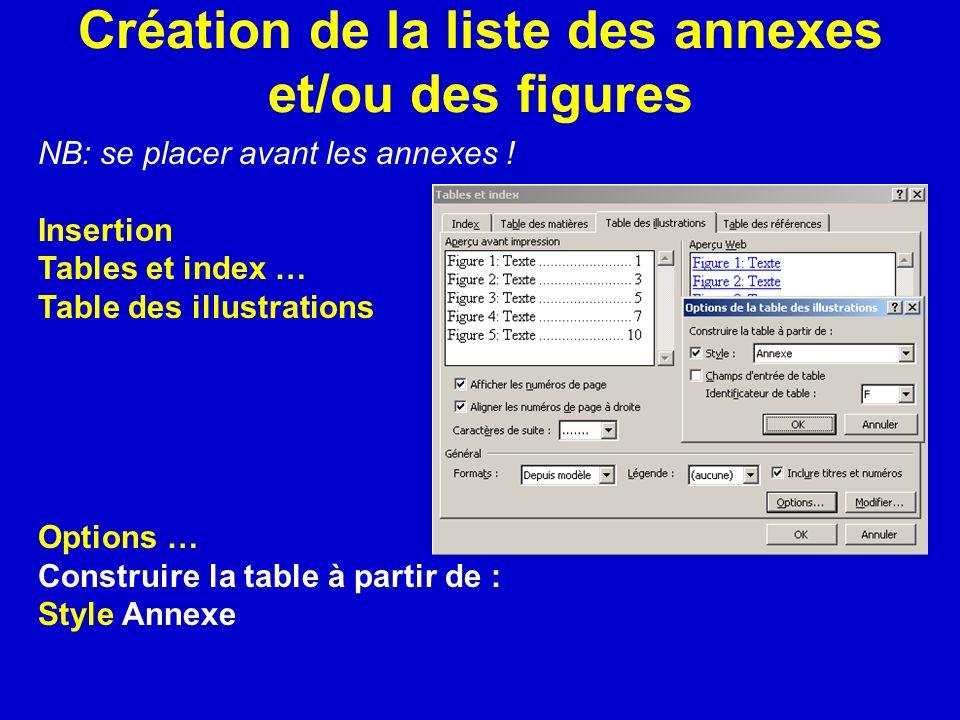 Création de la liste des annexes et/ou des figures