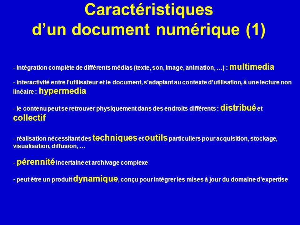Caractéristiques d'un document numérique (1)