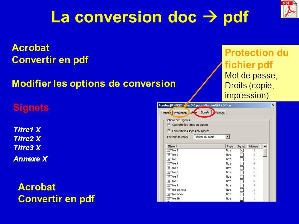 La conversion doc  pdf Acrobat Convertir en pdf