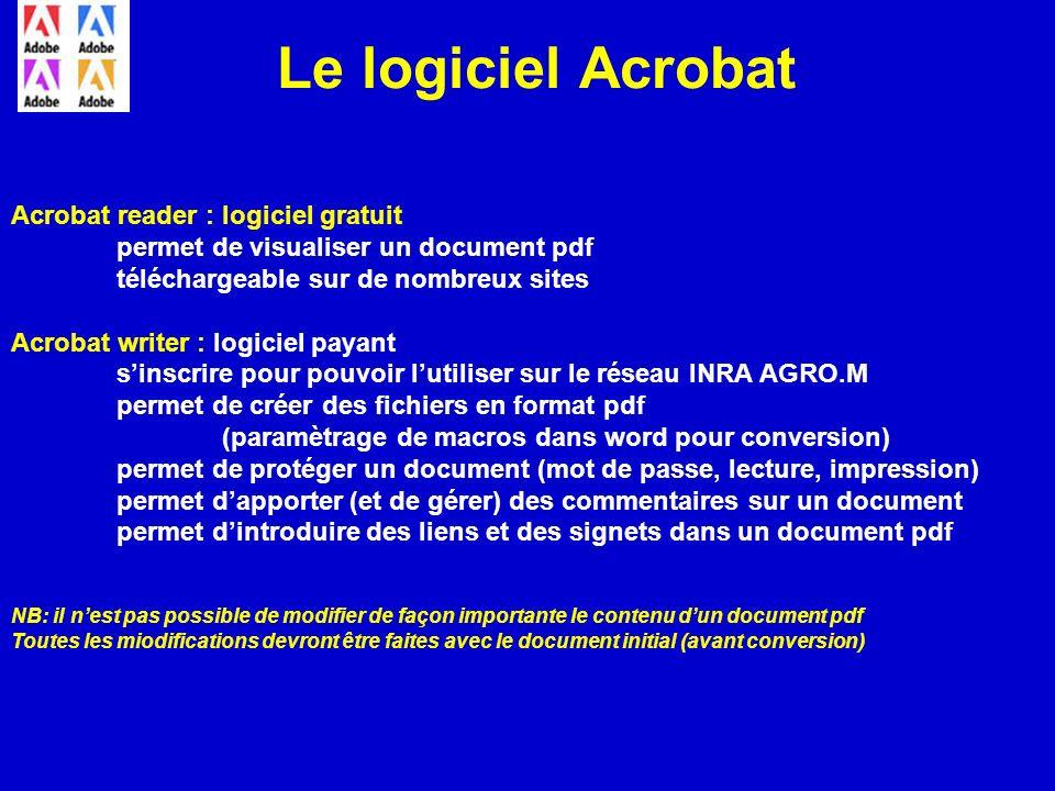Le logiciel Acrobat Acrobat reader : logiciel gratuit