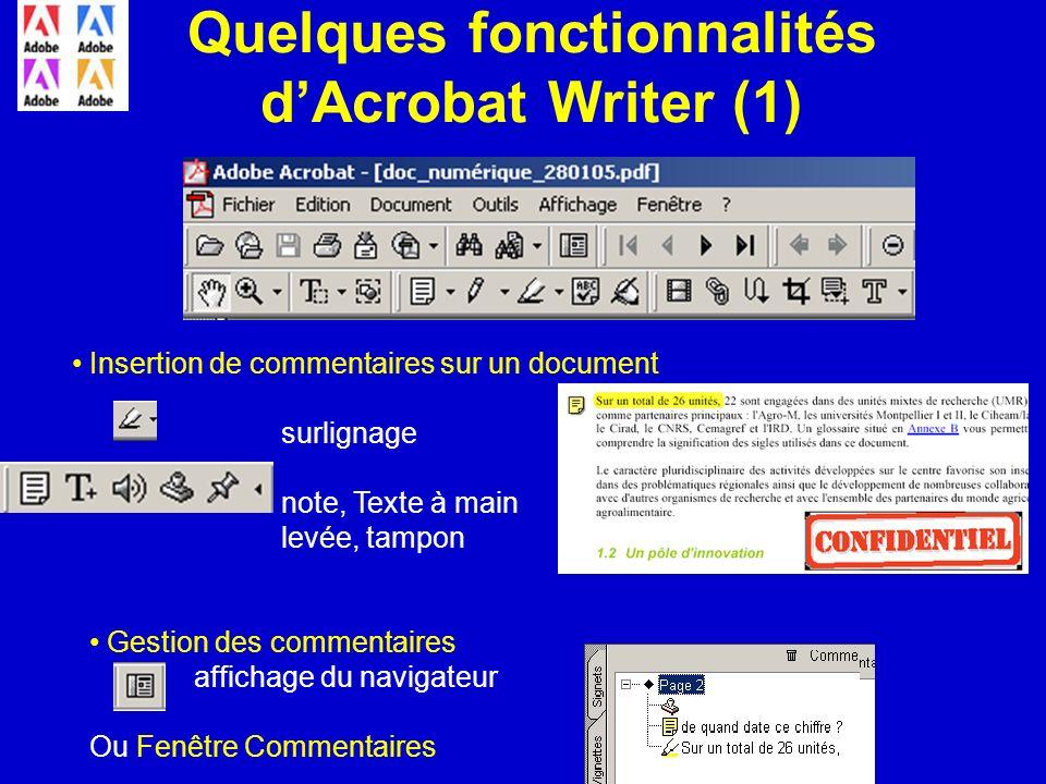 Quelques fonctionnalités d'Acrobat Writer (1)