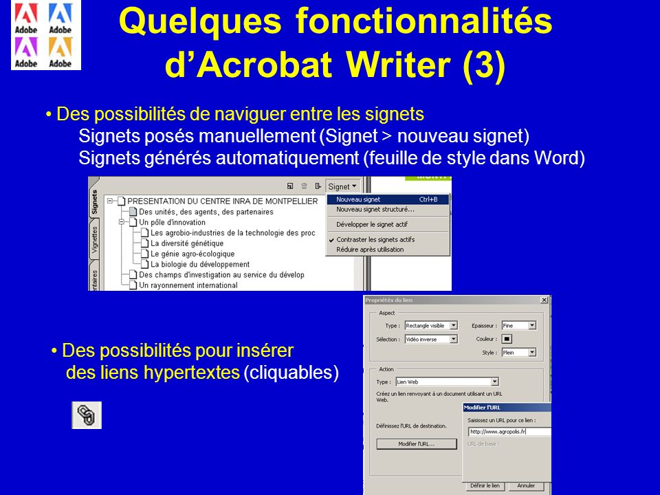 Quelques fonctionnalités d'Acrobat Writer (3)