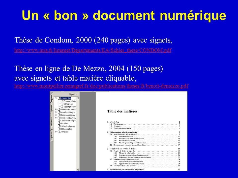 Un « bon » document numérique