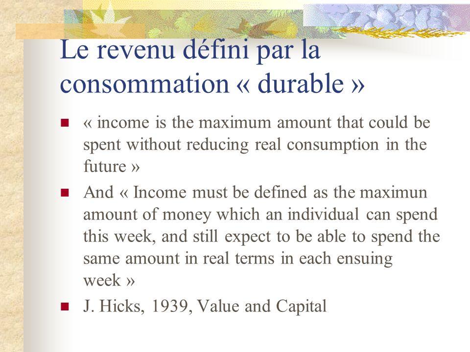 Le revenu défini par la consommation « durable »