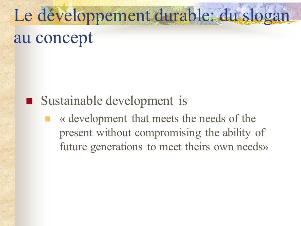 Le développement durable: du slogan au concept