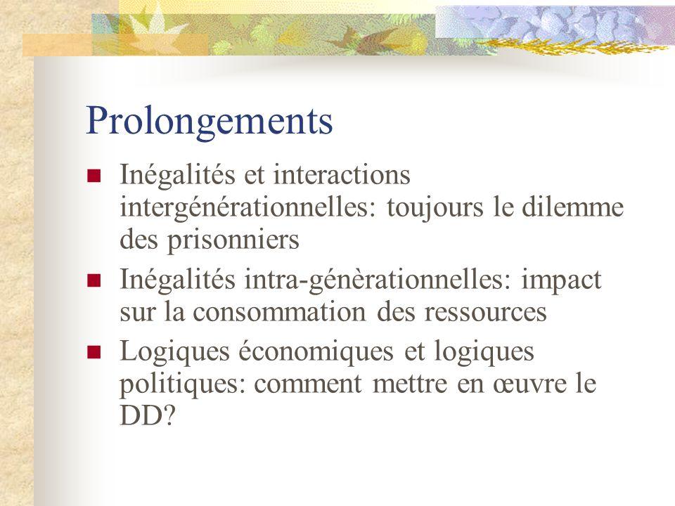 Prolongements Inégalités et interactions intergénérationnelles: toujours le dilemme des prisonniers.