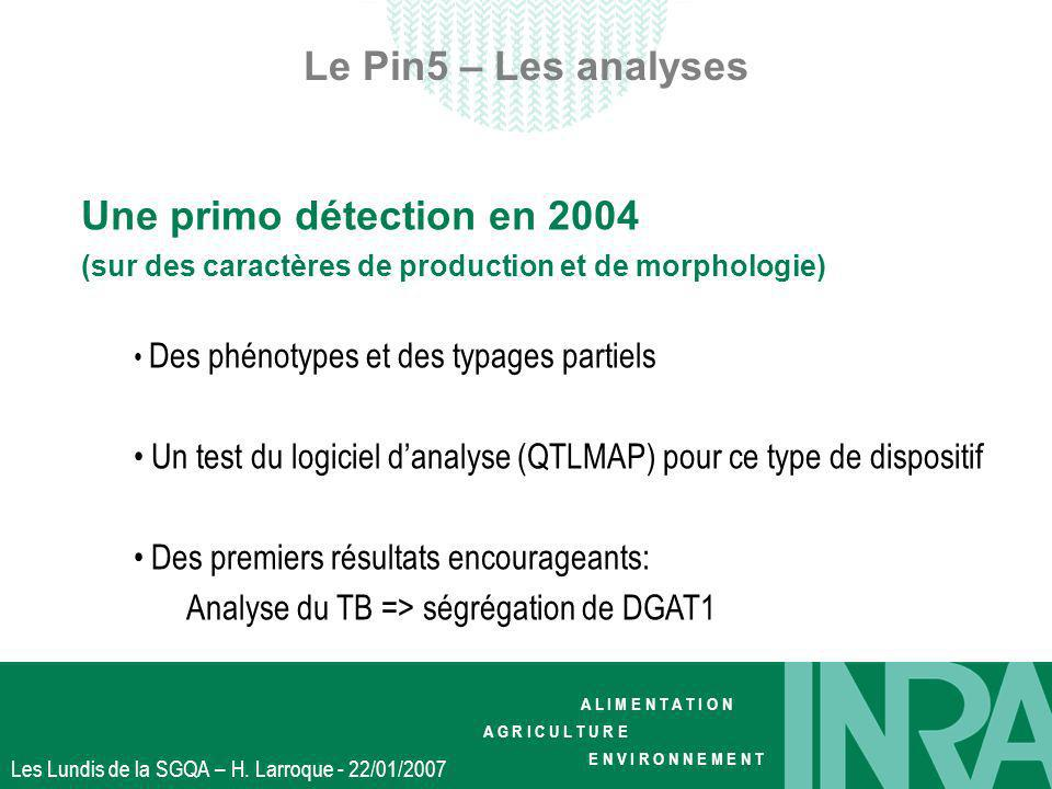 Le Pin5 – Les analyses Une primo détection en 2004