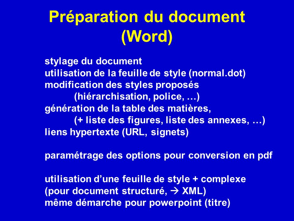 Préparation du document (Word)