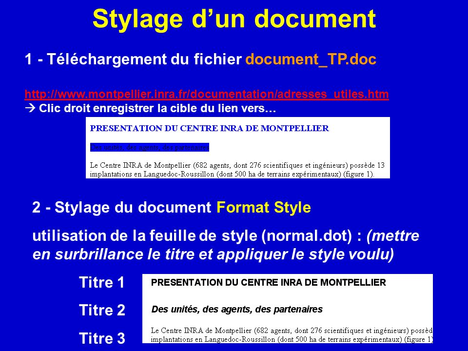 Stylage d'un document 1 - Téléchargement du fichier document_TP.doc