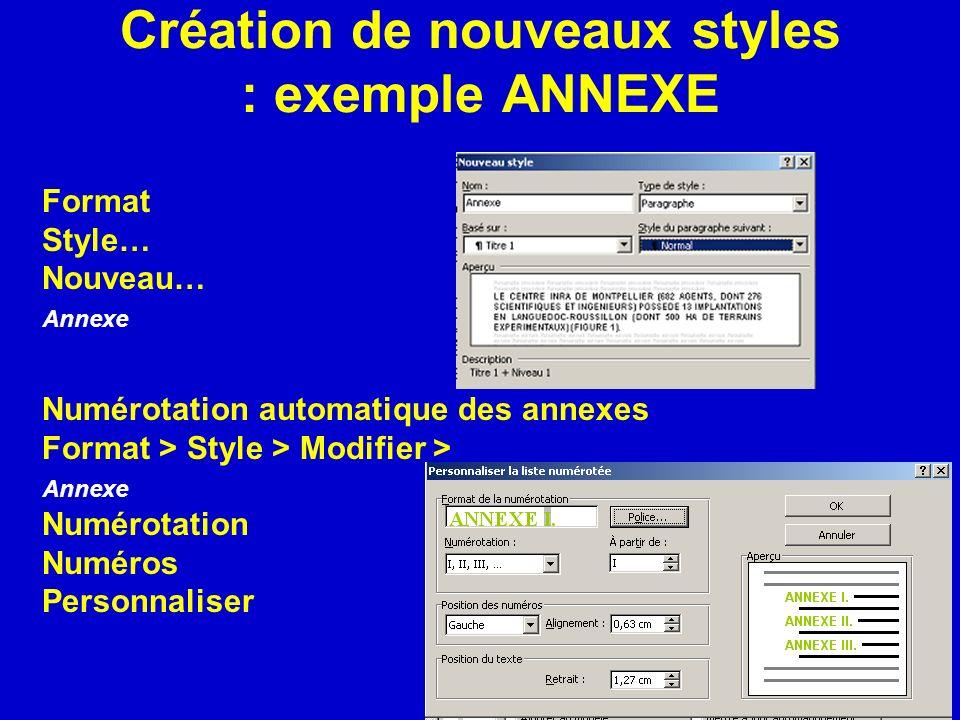 Création de nouveaux styles : exemple ANNEXE