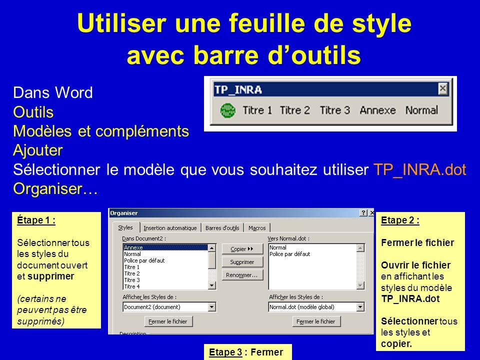 Utiliser une feuille de style avec barre d'outils