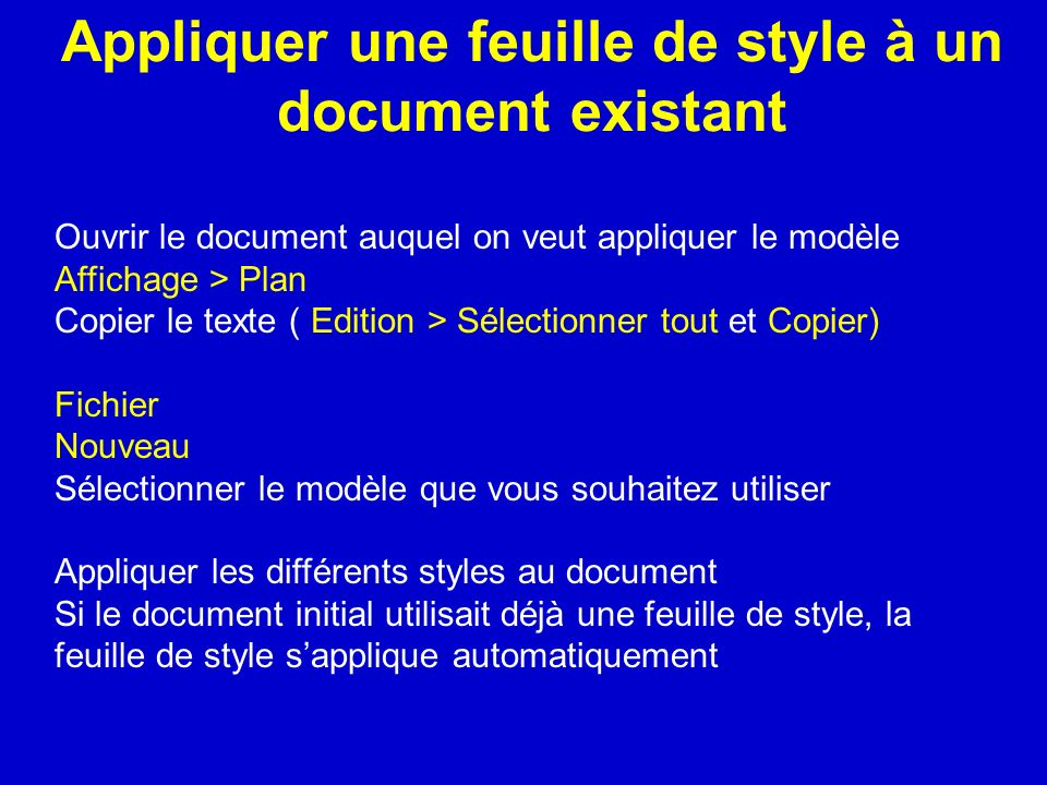 Appliquer une feuille de style à un document existant
