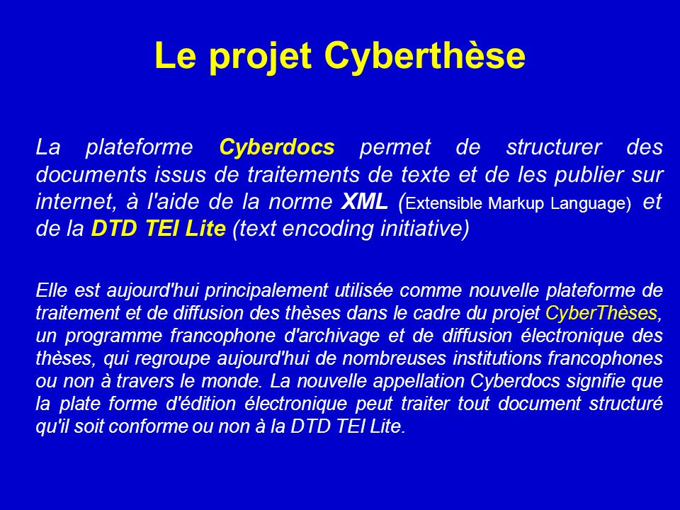 Le projet Cyberthèse