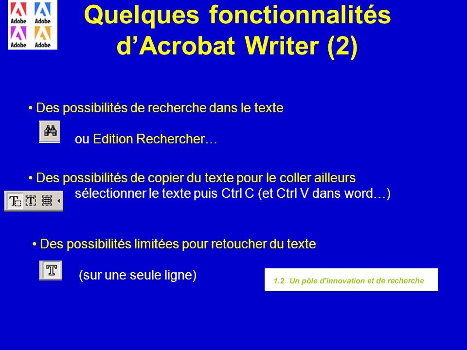 Quelques fonctionnalités d'Acrobat Writer (2)